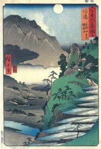 歌川広重 六十余州名所図会 信濃 更科田毎月 鏡台山